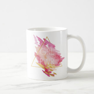 Girl Power in Pink & Gold - Abstract Watercolor Coffee Mug