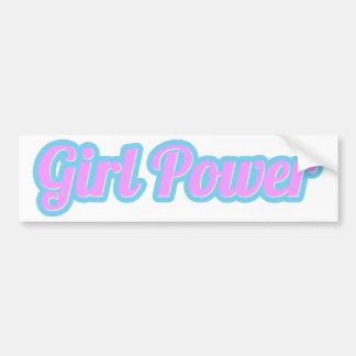 Girl Power Light Pink and Light Blue Bumper Sticker
