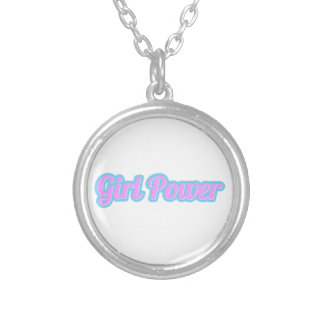 Girl Power Light Pink and Light Blue Silver Plated Necklace