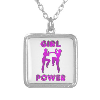 Girl Power Martial Arts Females Pendant Necklace