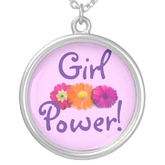 Girl Power! Pink, Purple, Orange Flowers Silver Plated Necklace