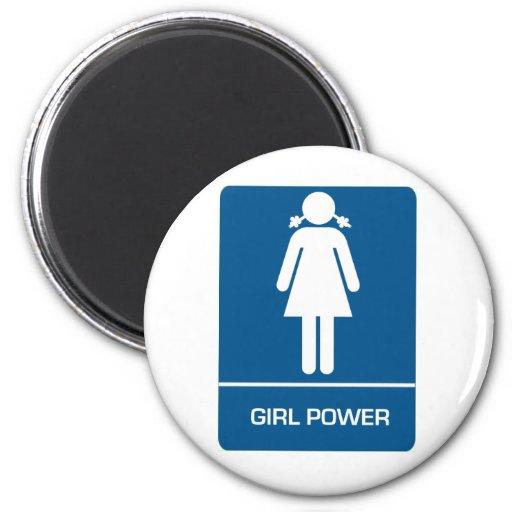 Girl Power Restroom Door Fridge Magnet