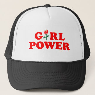 Girl Power White Black Trucker Hat