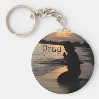 "Girl Praying on a Beach ""Pray"" keychain"