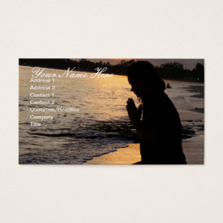 Girl Praying on the Beach Business Card