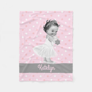 Girl Princess Nursery Personalized Pink Polka Dots Fleece Blanket