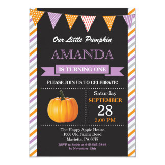 Girl Pumpkin Birthday Invitation Orange and Purple
