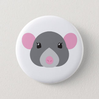 girl rat face grey 2 inch round button