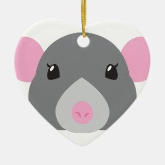 girl rat face grey ceramic heart ornament