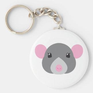 girl rat face grey keychain