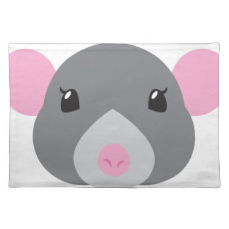 girl rat face grey placemat