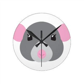 girl rat face grey round clock
