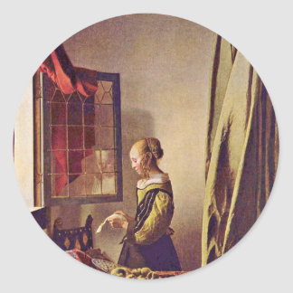 Girl Reading A Letter At An Open Window,  By Verme Classic Round Sticker