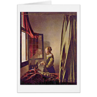 Girl Reading A Letter By Johannes Vermeer Card