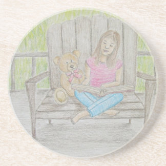 girl reading beverage coasters