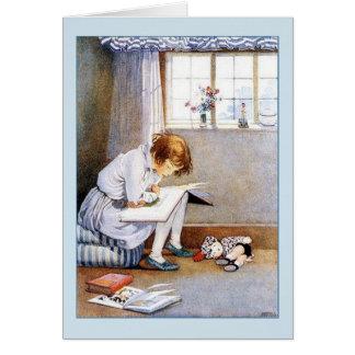 Girl Reading, Card