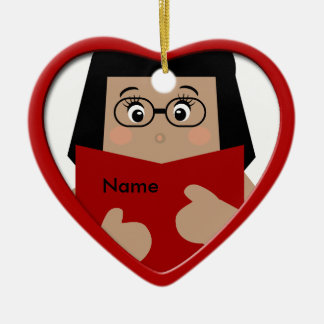 Girl Reading Christmas Heart Ornament 1