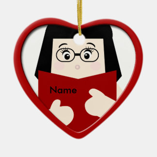 Girl Reading Christmas Heart Ornament 2