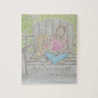 girl reading puzzles