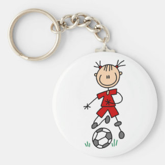 Girl Red Uniform Stick Figure Soccer Player Gifts Basic Round Button Keychain