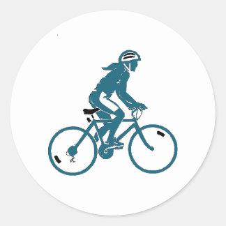 Girl Riding a Bike Classic Round Sticker