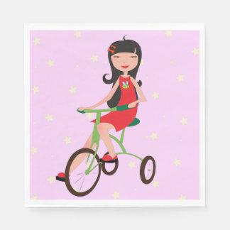 Girl Riding A Bike Paper Napkins