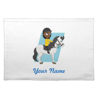 Girl riding a horse cartoon placemat