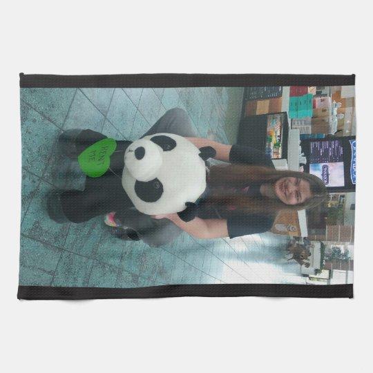 Girl riding a panda bear kitchen towel