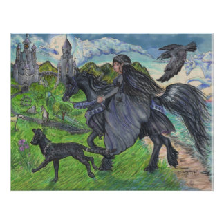 Girl riding Black Horse with Serval Cat Poster