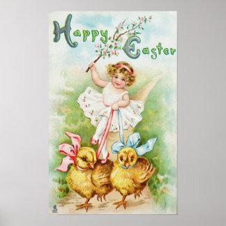 Girl Riding Easter Chicks Poster