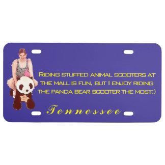Girl riding the panda bear license plate