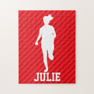 Girl Running; Scarlet Red Stripes Puzzles