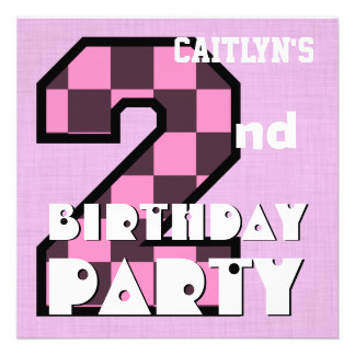 Girl s 2nd Birthday Pink CHECKS Custom Name V07 Personalized Invite
