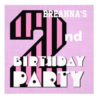 Girl s 2nd Birthday Pink STRIPES Custom Name V06 Announcements
