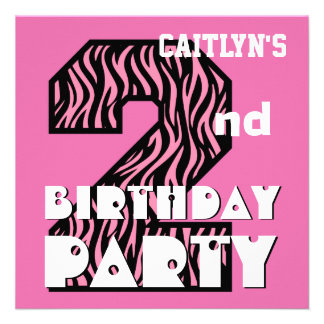Girl s 2nd Birthday Pink ZEBRA Custom Name V08 Personalized Invitations