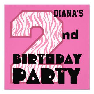 Girl s 2nd Birthday Pink ZEBRA Custom Name V09 Announcements