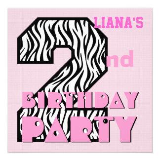 Girl s 2nd Birthday Pink ZEBRA Custom Name V10 Invite
