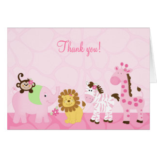 Girl Safari Pink Jungle Folded Thank you Notes
