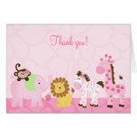 Girl Safari Pink Jungle Folded Thank you Notes Greeting Card
