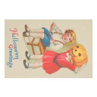 Girl Scaring Boy Book Jack O' Lantern Art Photo