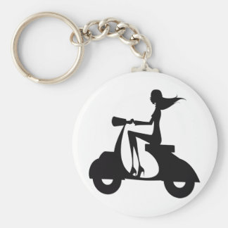 Girl Scooter black Basic Round Button Keychain