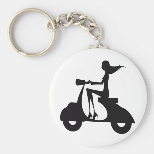 Girl Scooter black Key Chain