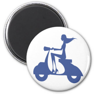 Girl Scooter blue Magnet