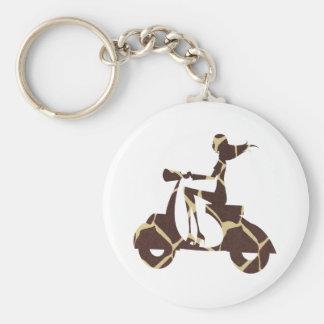 girl scooter dark giraffe basic round button keychain