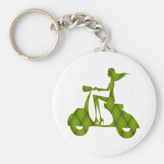 girl scooter green plaid basic round button keychain