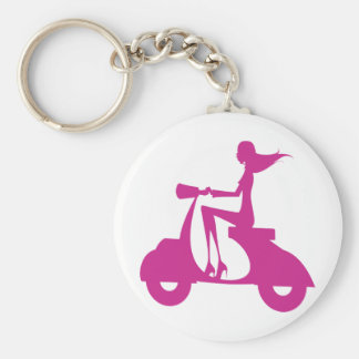 Girl Scooter hot pink Basic Round Button Keychain