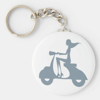 Girl Scooter periwinkle Keychains