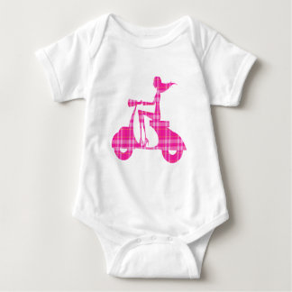 girl scooter pink white gingham baby bodysuit