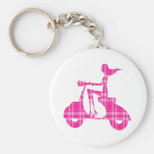 girl scooter pink white gingham keychains