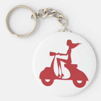 Girl Scooter red Basic Round Button Keychain